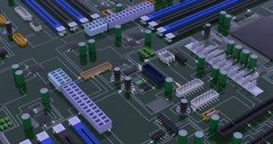 Computer macro mother board realistic footage
