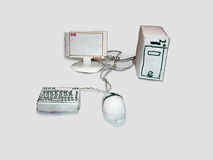 The computer made of paper. The system unit, monitor, mouse and keyboard are made of cardboard Royalty Free Stock Image