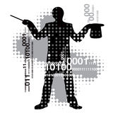 Computer_magician. Abstract background with a silhouette of computer magician . Vector illustration Stock Images