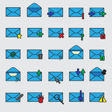 Computer mail simple blue icons eps10 Stock Photo