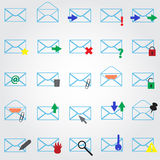 Computer mail simple outline blue icons Royalty Free Stock Photo