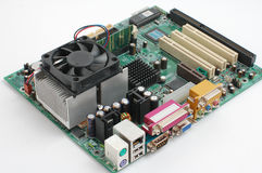 Computer main-board. On white background Stock Photography
