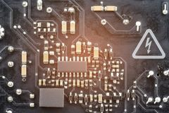 Computer main board or motherboard. Selective focus Royalty Free Stock Photography