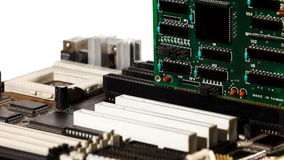 Computer main board with slot and expansion card Stock Photos