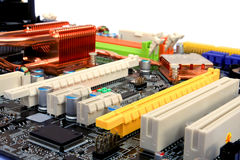 Computer mainboard detail - slots Stock Photo