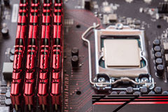 Computer mainboard. Electronic printed circuit board chemicon cp Royalty Free Stock Images