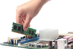 Computer mainboard memory Royalty Free Stock Photography