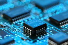 Computer Mainboard with micro processor Royalty Free Stock Images