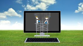 Computer Maintenance Concept. Conceptual image of computer maintenance with engineers cleaning out the dirt on  monitor. With green grass and blue sky background Stock Photos