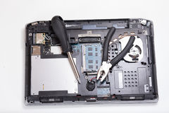 Computer maintenance with tools and copy space Royalty Free Stock Photography