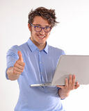 Computer man. Royalty Free Stock Photo