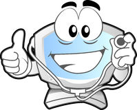 Computer Mascot #2. Computer mascot (illustration of a computer desktop smiling with stethoscope in his hand Stock Photos
