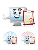 Computer Mascot - Certificate. Illustration of a computer mascot Holding Certificate Stock Image