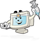 Computer Mascot - Doctor. Illustration of computer mascot with stethoscope and syringe in his hand Royalty Free Stock Photos