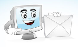 Computer Mascot - Email Me Royalty Free Stock Photo