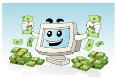 Computer Mascot - get much money. Illustration of computer desktop holding money Royalty Free Stock Images