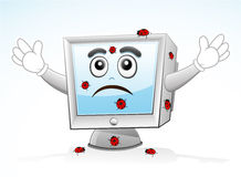 Computer Mascot - infected. Vector illustration of a computer mascot is scares of virus attack Stock Photography