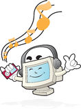 Computer Mascot - Listen to the beat. Illustration of a computer mascot listening to the music with the music player on his hand Stock Photo