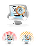 Computer Mascot - Magnifying Glass Stock Photos