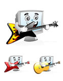 Computer Mascot - Playing Guitar. Illustration of a computer mascot Playing to the guitar with the guitar on his hand Royalty Free Stock Images