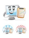 Computer Mascot - Presentation. Illustration of a computer mascot showing a progressive line chart Royalty Free Stock Images