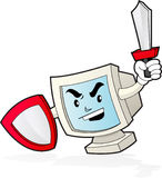 Computer Mascot - Security. Illustration of a computer desktop holding shield and swords on his hands Stock Photography
