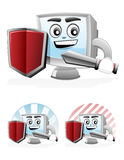 Computer Mascot - Security. Illustration of a computer mascot holding shield and swords on his hands Stock Photo