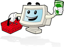 Computer Mascot - Shopping. Illustration of computer desktop going to shop with the basket and the money on his hands Stock Photos