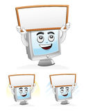 Computer Mascot - White board. Illustration of a computer mascot holding a blank white board, copy space for your text Stock Image