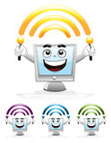 Computer Mascot - Wi-Fi. Illustration of a computer mascot with holding wi-fi antenna Stock Photos