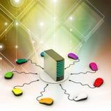 Computer-Maus verbundener Server Stockbild