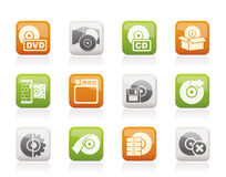 Computer Media and disk Icons Stock Photography
