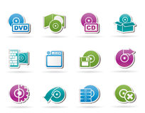 Computer Media and disk Icons Royalty Free Stock Photo