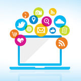 Computer with media icons. A tablet with bright media sharing icons Royalty Free Stock Images