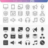 Computer and media line icon set. Trendy thin line icons for web and mobile. Normal and enable state Royalty Free Stock Image