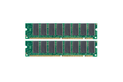 Computer Memory. Two sticks of computer memory, isolated on white stock photos