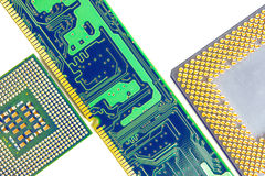 Computer Memory Chip With Two Processors Closeup. Computer Memory Chip With Two Processors Isolated On White Background Closeup stock images
