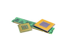 Computer Memory Chip With Two Processors. Isolated On White Background royalty free stock photo