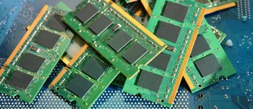 Computer memory details. Pile of computer memory details royalty free stock photos