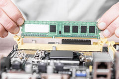 Computer memory installation Royalty Free Stock Photography