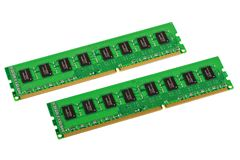 Computer memory modules. Pair of computer memory modules isolated on white background royalty free stock image