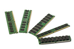 Computer memory modules. Various kinds of computer memory modules stock photo