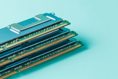 Computer memory modules on the aquamarine background Royalty Free Stock Image