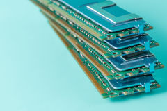 Computer memory modules on the aquamarine background Royalty Free Stock Photography
