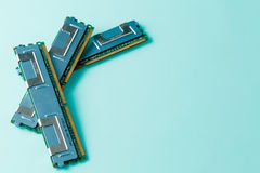 Computer memory modules on the aquamarine background Stock Images