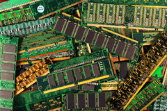 Computer memory modules as background. dimm simm sdram ddr chips. On boards royalty free stock photo
