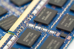 Computer memory ram. Stacked and fanned pile of computer memory royalty free stock photo