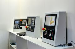 Computer menu for managing modern industrial metalworking CNC machine royalty free stock image