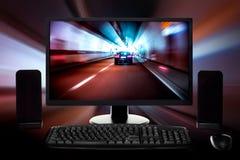 Computer messo con fondo digitale Fotografie Stock
