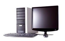 Computer met het vlakke scherm Royalty-vrije Stock Foto's